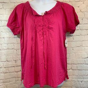 Women's Jane Ashley Sz XL pink short sleeve top